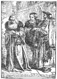 Antonio reproaching Shylock (characters from William Shakespeare's play The Merchant of Venice)